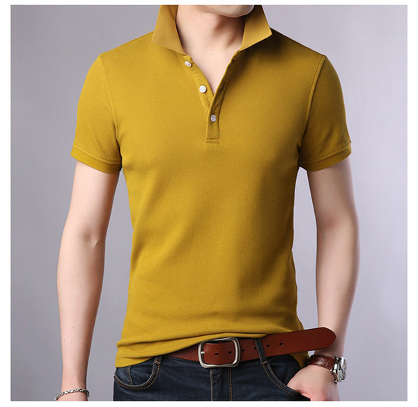 Fashion Solid Atmungsaktive Revers Neck Herren Polo Designer Kurzarm Sommer Tees Sieben Farbe Optional Casual Tees