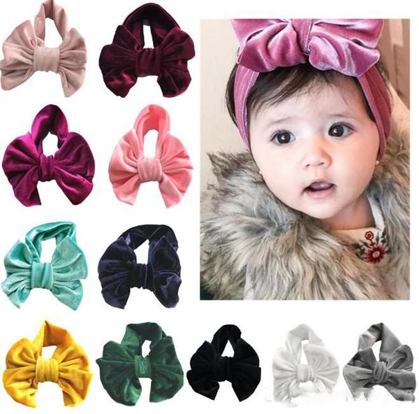 Winter Headband Baby girl Pleuche Hair bow Headwrap Sweet Soft Elastic hair accessories 11 Colors Wholesale Cheap 2018