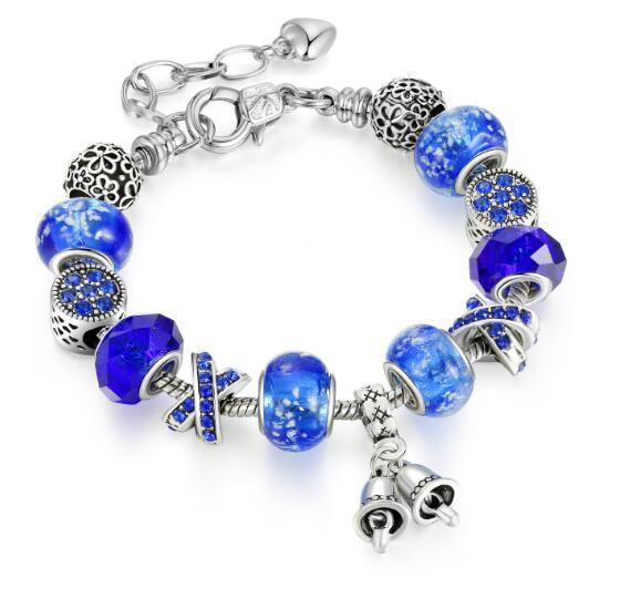 Blue Noctilucent Fluorescent Bracelet Crystal Glass Alloy Macroporous Bead Bracelet DIY Foreign Trade Bracelet W704
