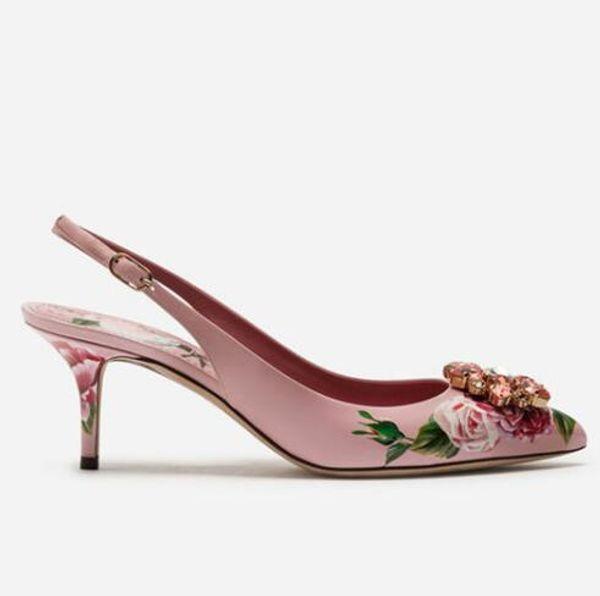 Çiçek Düşük Topuk sandal Baskılı Deri Çiçek Sivri Burun 6 10 cm Kristal Mücevherli Gelin Düğün Ayakkabı Slingback Yüksek Topuklu Pompalar