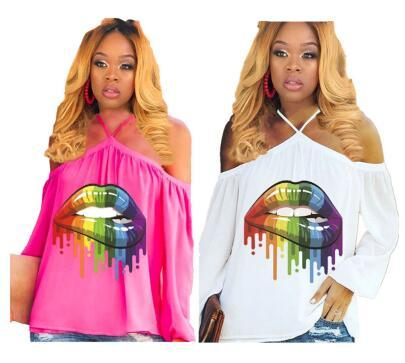 Women Rainbow Lips Tshirts Summer Off Shoulder Tops Tee Sexy Street T-Shirts Fashion Ladies Loose Slash Neck Long Sleeve Halter Vest A4807