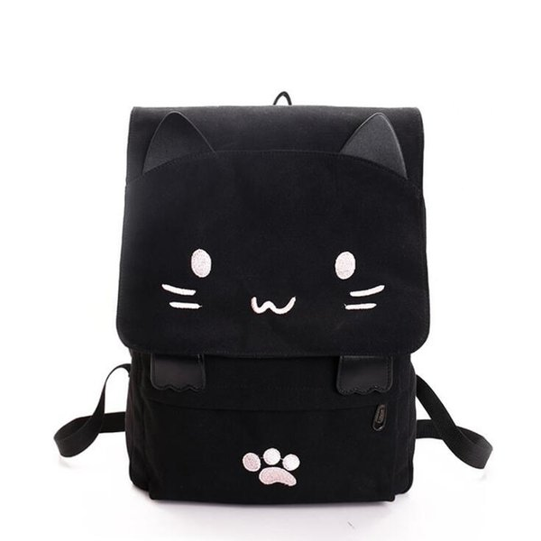 2019 Cute Cat Canvas Backpack Cartoon Embroidery Backpacks For Teenage Girls School Bag Casual Black Printing Rucksack Mochilas