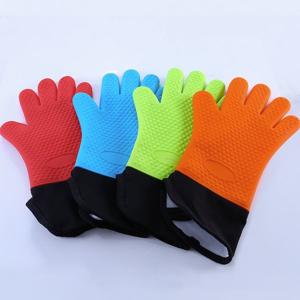 High Temperature Microwave Oven Gloves Insulated Gloves Long Plus Cotton Oven Baking Anti-hot