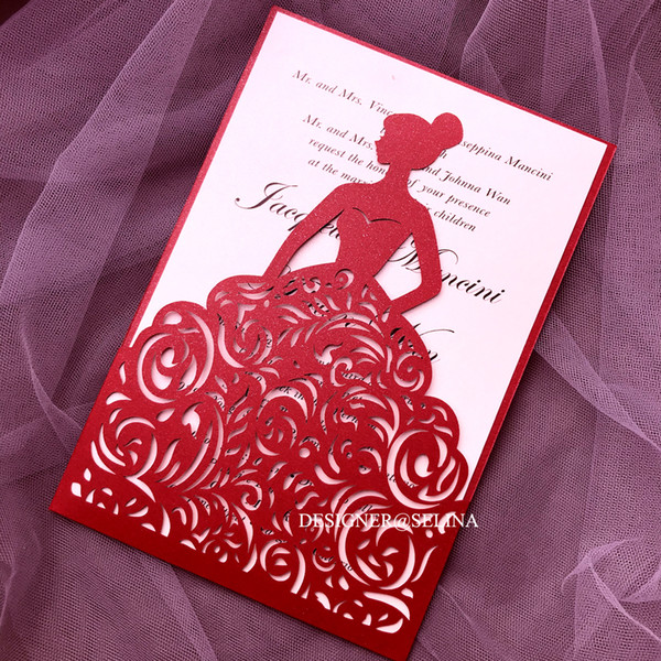 Red Wedding Invitations Laser Cut Princess Invitation Cards For Bridal Shower Hollow Quinceanera Invites Sweet 15 Invitation With Envelope Amazing