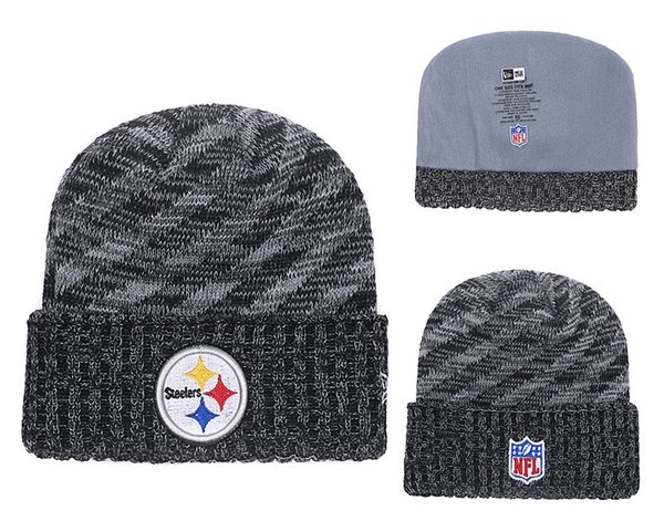 2019 Men S Pittsburgh Steelers New Black 2018 Sideline Cold Weather Official Sport Knit Hat White Black Retro Cuffed Knit Hat With Pom 02 From Pc0002