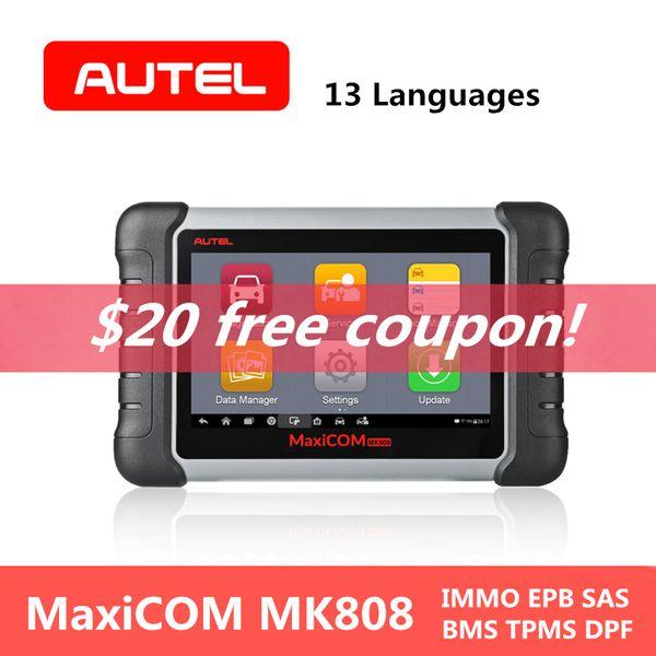 AUTEL MaxiCOM MK808 Automotive Car Diagnostic Tool Wifi IMMO EPB SAS BMS TPMS DPF Mileage Reset OBD2 Scanner Clear Code Reader
