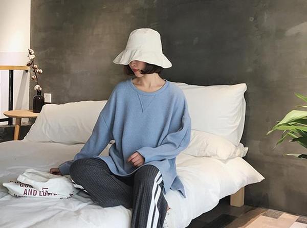 Spring New Kind of Sanitary Wardrobe Women's Pure Long Sleeve Sleeve Head Korean Edition Round Neck Loose Bottom Students'Leisure Jacket Tre