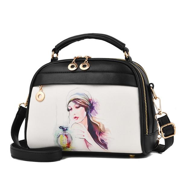 LUCDO Women Messenger Bag Cartoon Printing Crossbody Shoulder Bag Evening PU Leather Clutch Bag Handbag Luis Vuiton Bolsos Mujer