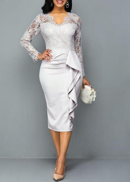 2019 Elegant Tea Length Lace Mother of the Bride Dress Custom Made V-Neck Long Sleeve Fashion Mother's Dress Mother Formal Wear for Wedding