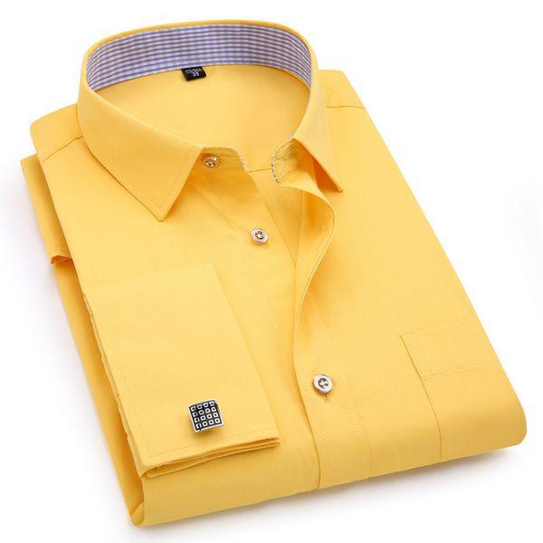 Mens French Cufflinks Long Sleeves Shirts Black White Blue Yellow Lapel Male Business Dress Shirt Fit Wedding Party Men Clothin Q190518