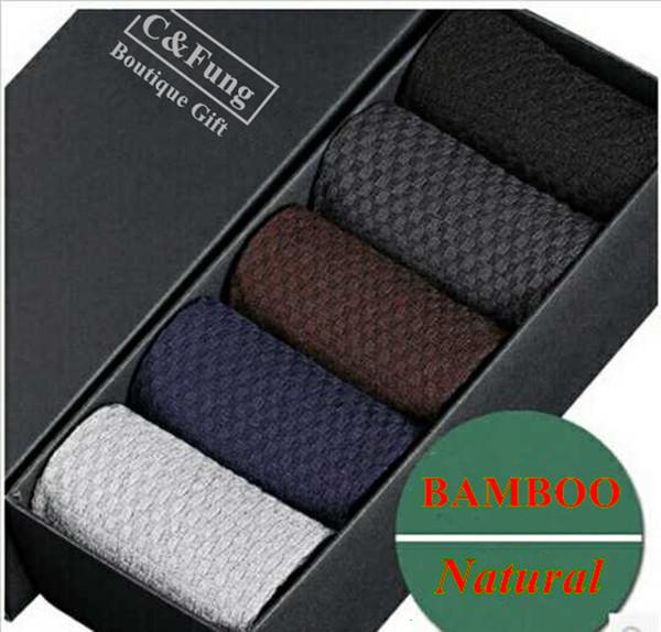 C&Fung 5pairs 2016 fashion bamboo fiber socks men's socks summer gift box men's summer meia socks brand calcetines lot plus sizeMX190902