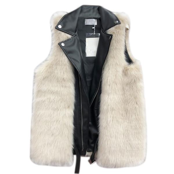 Women Faux Fur PU Patchwork Gilet Fashion Turn Down Collar Fake Two Piece Sleevess Coat 2018 Fur Vests
