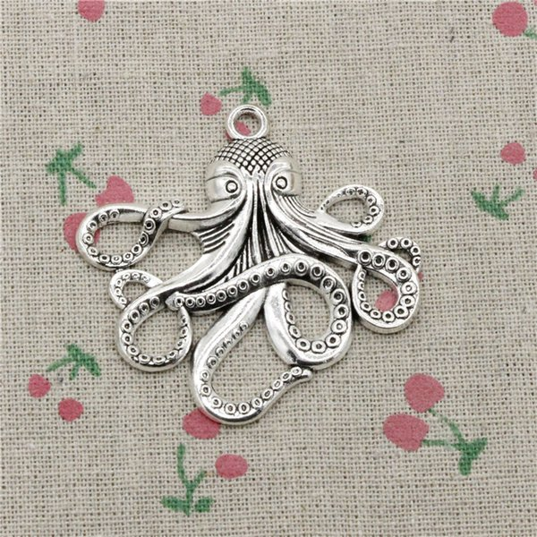 10pcs Charms octopus 59*57mm Tibetan Silver Vintage Pendants For Jewelry Making DIY Bracelet Necklace
