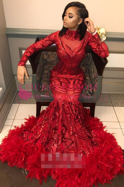2019 Black Girls Red Sequins and Feather Prom Dresses Mermaid Long Sleeve Formal Evening Occasion Party Dresses Custom Made Hot Sale