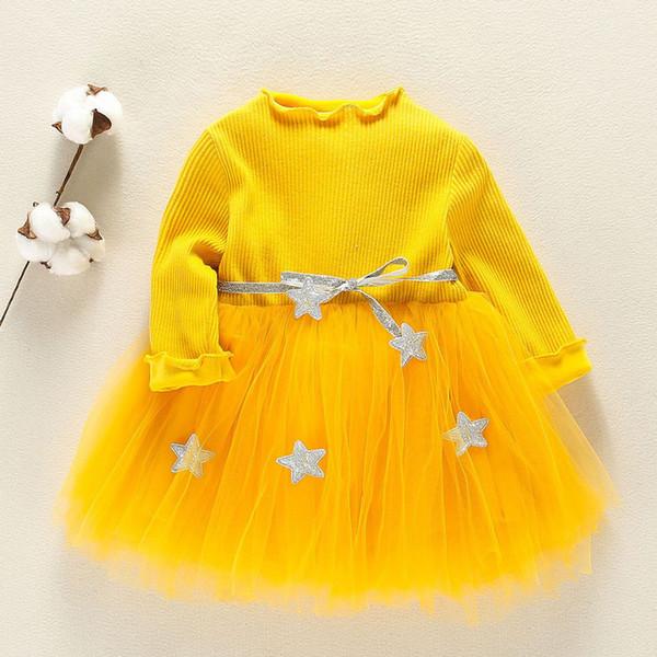 Spring Winter For Baby Girls Long Sleeve Star Pattern Waistband Party Dress Lace Princess Dress verkleedkleding kinderen