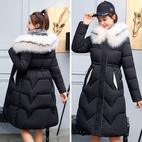 X-Long 2019 новое прибытие мода тонкий женщин зимняя куртка хлопок мягкий теплый сгущает дамы пальто длинные пальто куртка Женские куртки CJ191128