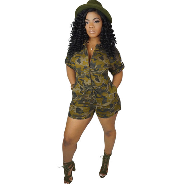 2019 Summer Overalls for Women Jumpsuit Camouflage Print Button Front Short Sleeve Playsuit One-Piece Rompers female Dungarees