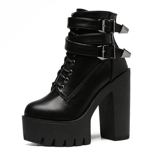 NAUSK Spring Autumn Fashion Women Boots High Heels Platform Buckle Lace Up Leather Short Booties Black Ladies Shoes Promotion
