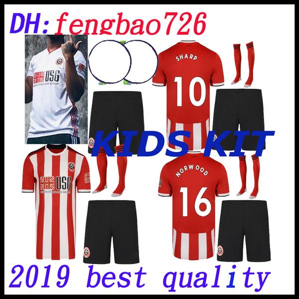 kit enfants 2019 2020 Sheffield United fc TOP maillots de football de qualité de la Thaïlande Sheffield 19 20 rouge à la maison blanc personnaliser les maillots de football