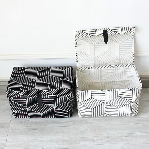 Black White Household Portable Storage Box Clothes Organizer Sundries Storage Box Underwear Bra Packing Makeup Cosmetic Cloth Bag