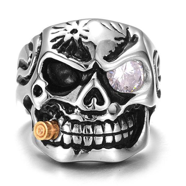 Punk Silver Tobacco Pipe Skull Rings Charm Red / White Eye Cubic Zircon esqueleto anillo de joyería para mujeres hombres