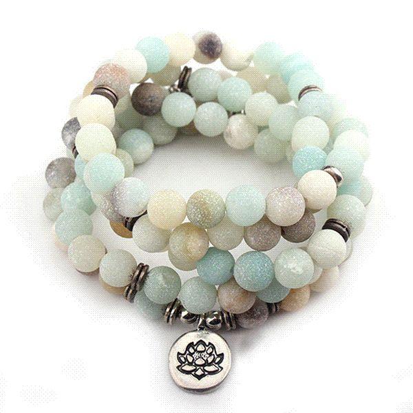 GS Fashion Women Bracelet Matte Frosted Amazonite Beads with Lotus Buddha Charm Yoga Bracelet for Women Ladies Dropshipping Y3
