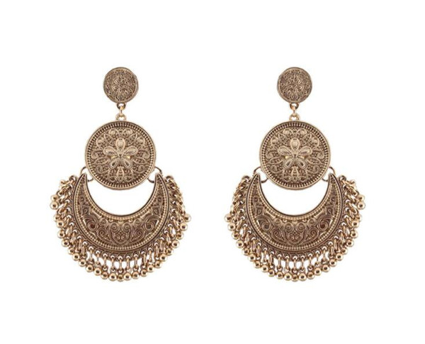top popular Hollow Vintage Statement Earrings Carved Circle Drop Dangle Earrings for Women Bohemian earring 3 cplors free shipping 2019