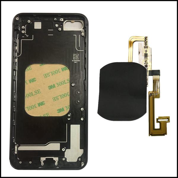 Faça o seu 7 plus como 8 mini bateria porta carregador sem fio do receptor flex vidro de volta carcaça do quadro da caixa de substituição para o iphone 6g 6 s