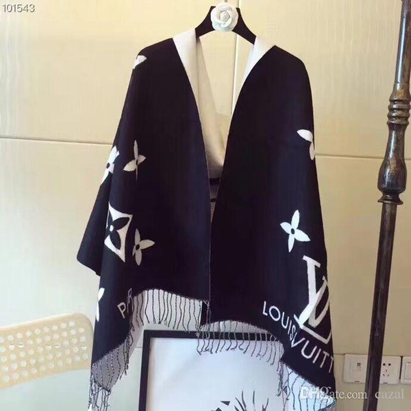 Designer Winter Cashmere Scarf Pashmina for Women and Men Fashion Double Wear Warm Blanket Scarfs Scarves Cashmere Cotton Scarf Gifts