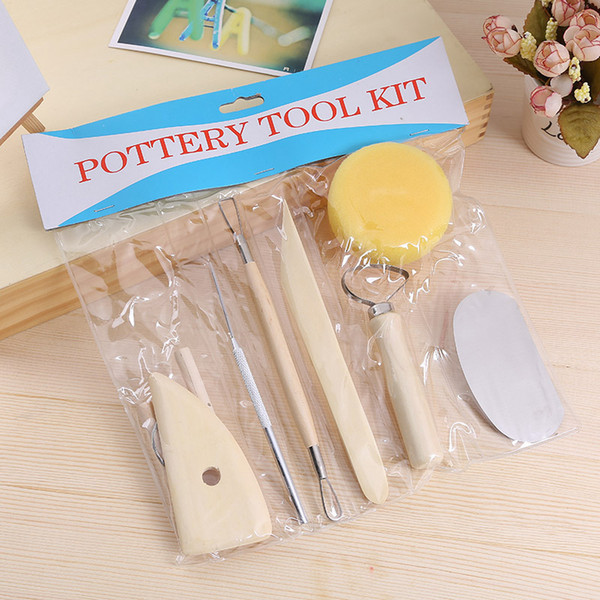 best selling Ceramics Clay Sculpture Modelling Kit Wooden Handle Pottery Tools Set Stainless Steel Pottery