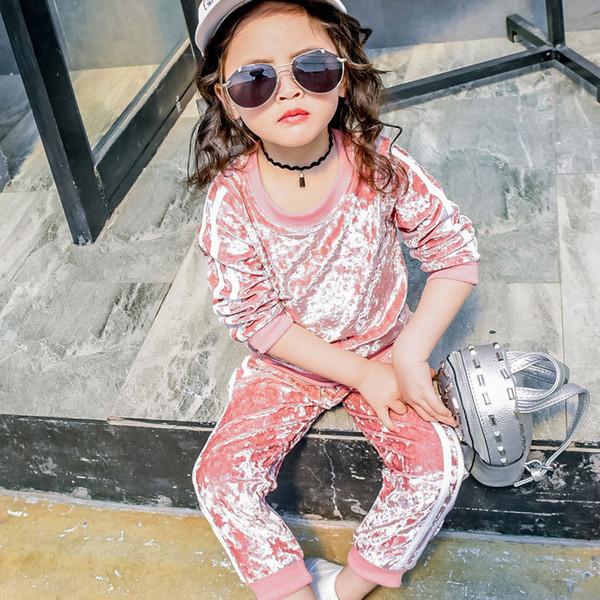Девушки весна осень одежда набор дети Розовый бархат теплые толстовки и брюки набор детские случайные свободные мода одежда 2-7T