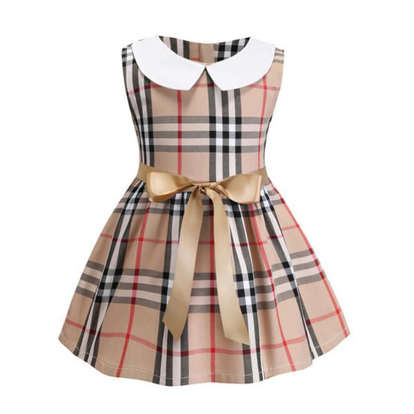 ropa de las niñas al por menor 100% algodón suave verano sin mangas del niño vestido de cuello a cuadros patrón niños vestido con arco