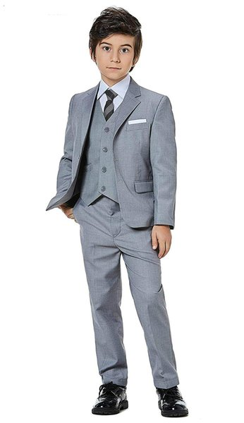 Custome Made Kids Suits Boys Grey Flower Boy Blazers Children Prince Wedding Dress Uniform Clothes Formal Party Clothes