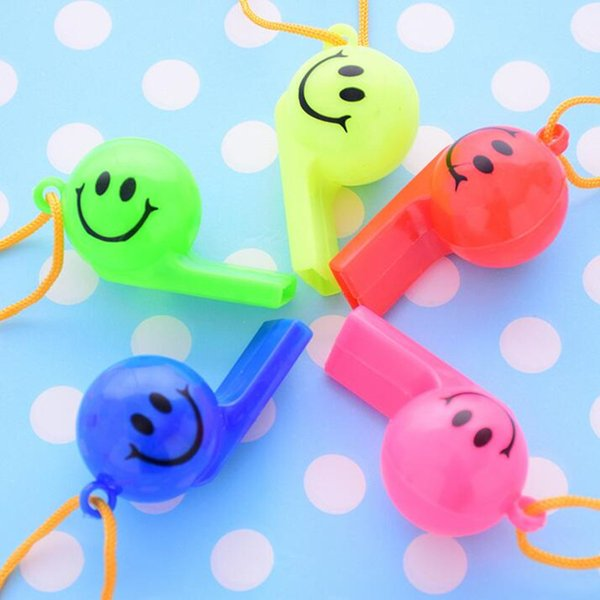 1600pcs/lot Soccer football or smiling face whistle cheerleading toys for kids children plastic whistles toys with ropes