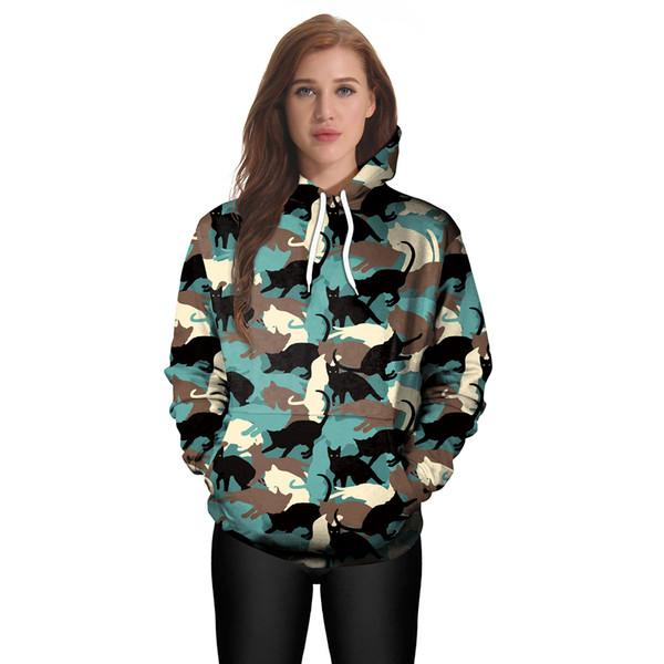2019 European and American fashion women's spring new long-sleeve hoodie lovers 3D printed hoodie digital printed women's wear B101-088