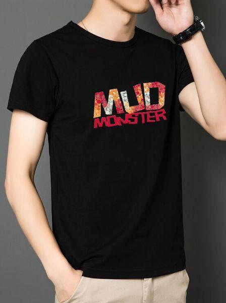 Europa y los Estados Unidos marea marca de manga corta camiseta de hombre tendencia de algodón marea hip-hop estudiantes masculinos cuello redondo ropa de guerra cuántica