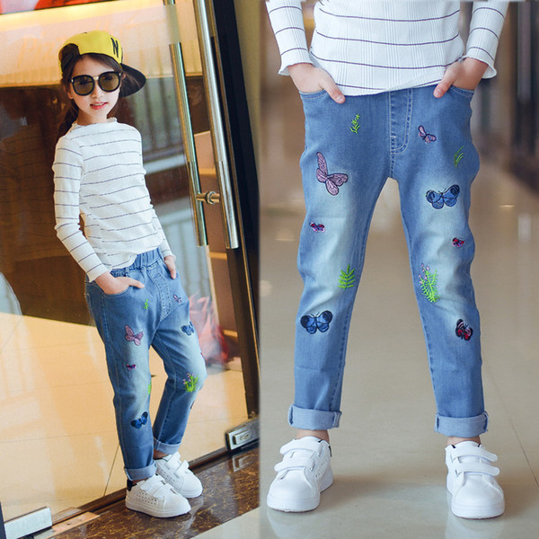 2019 Spring And Autumn Children's Clothing Girls Slim Jeans Embroidered Butterfly Children Pants