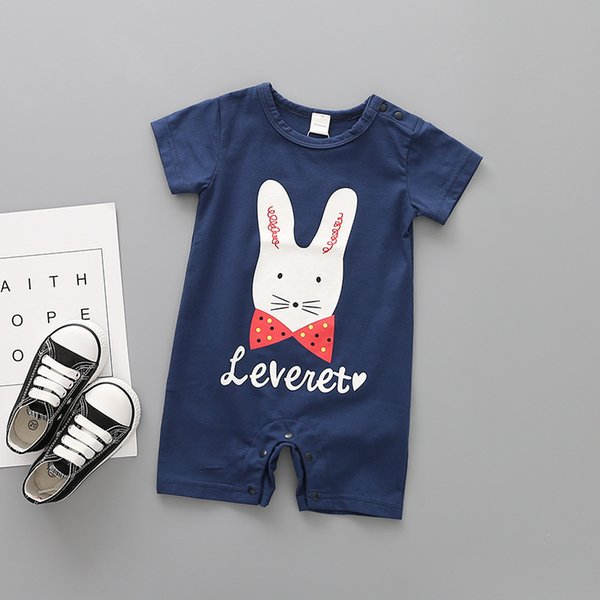 2019 New Boys And Girls Summer Clothes O-Neck Kids Rompers Pullover New Born Baby Clothes Cute Cartoon Baby Girl And Boy Romper