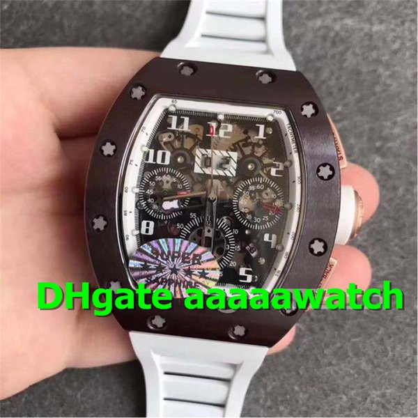 KVF Luxury Men Watch 011 Watch Flyback A7750 Automatic Chronograph Movement Sapphire Crystal Brown Ceramic Bezel Skeleton Dial Rubber Strap