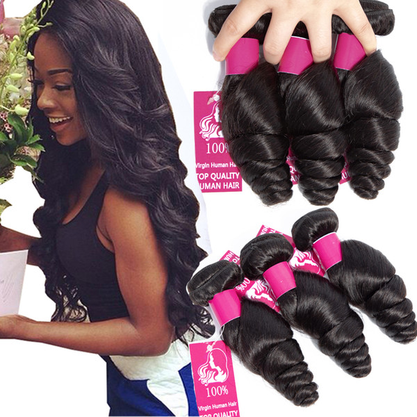 best selling Peruvian Virgin Hair Bundles 4Pcs lot 100g pcs 9A Unprocessed Human Hair Weaves Peruvian Loose Wave Virgin Hair Wefts Natural Black