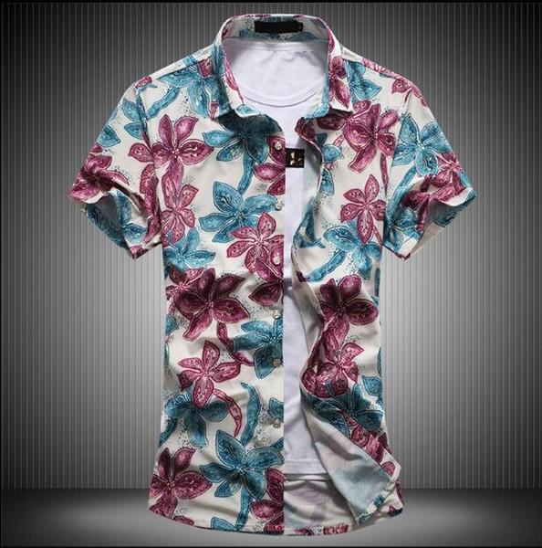 2019 verano Nueva Moda Diseño de Impresión Estilo Chino Masculino Manga Corta Camisa Más Gran Tamaño Camisa Casual Hombres