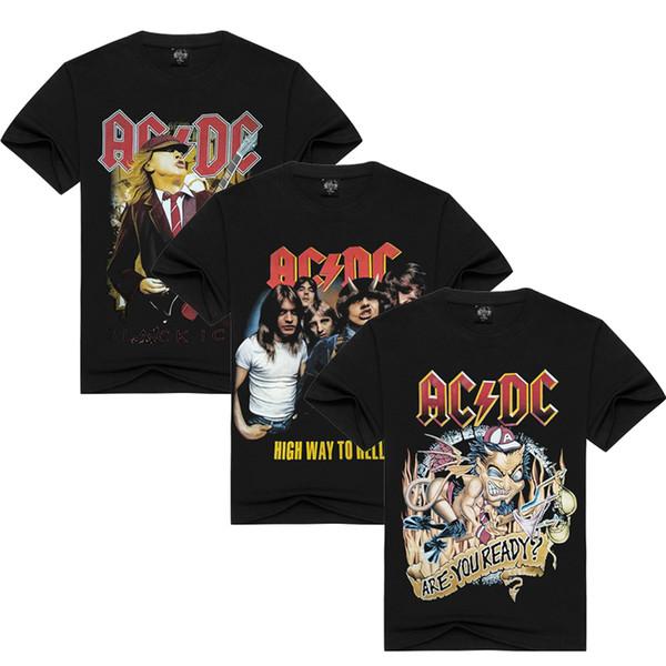 S-3XL AC DC Impressão de Manga Curta T-shirt Dos Homens 100% Algodão Preto Casual T-Shirts Hard Rock Club Tee ACDC Tops HAH0301