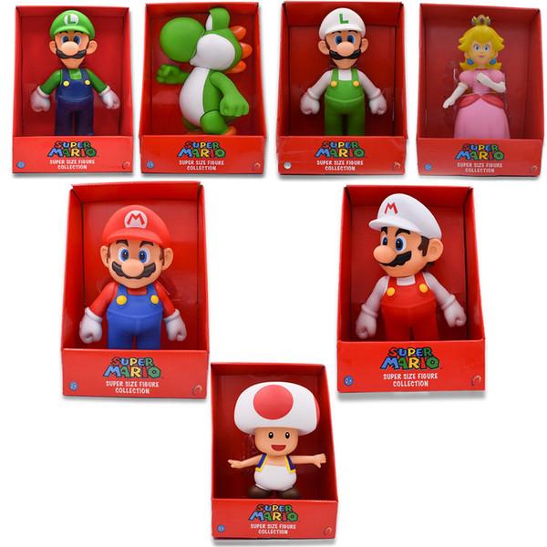 7Styles 23cm Super Mario Bros Figure Yoshi Peach Princess Toad PVC Action Figure Hot Toys For Children Mario Luigi Free Shipping