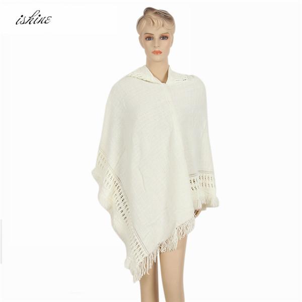 La sciarpa casuale del poncho del batwing del knit delle donne casuali poco costose di modo di autunno con lo scialle del maglione della nappa dell'inverno del cappuccio copre la spedizione gratuita