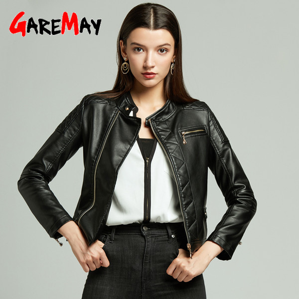 Garemay Black Women's Leather Jackets Pu Casual Autumn Winter Long Sleeve Short Faux Leather Jackets Women