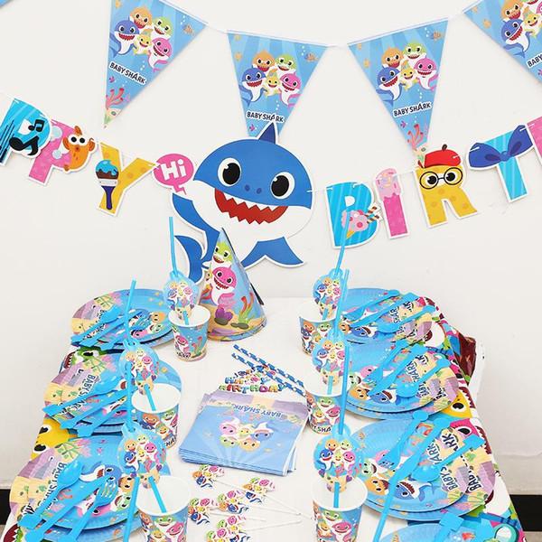 Bebé Tiburón Suministros de Cumpleaños Fiesta Decoración Niños Banner Sombrero Placa Mantel Diente Palillo Recuerdo Cuchara 16 UNIDS Set 30SC F1