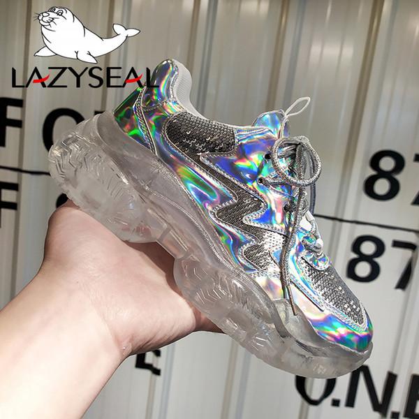 LazySeal 2019 Chaussures Femmes Bottes À Lacets Printemps Cristal Semelle Chaussures Plateforme Femelle Appliques Mesh Air Étudiant Sneaker