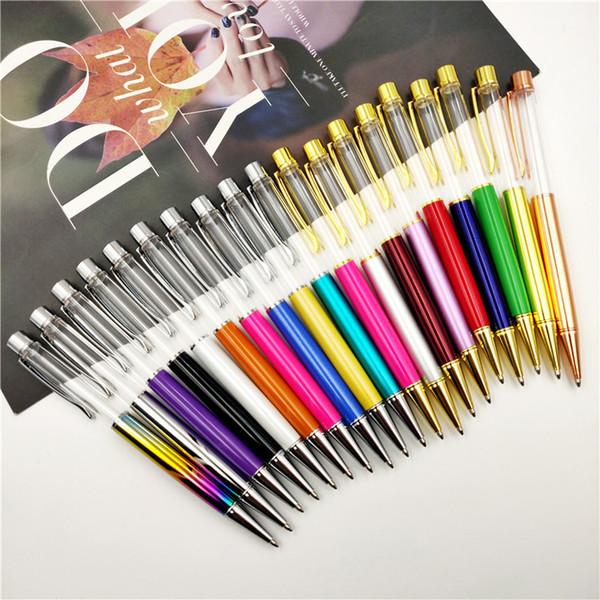 Diy barril vacío regalo pluma bolígrafo con astilla dorada parte azul tinta especialmente pluma de lujo