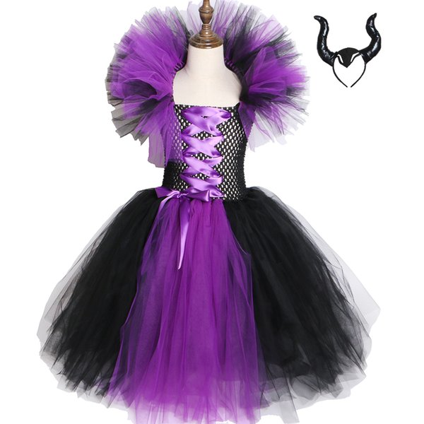 Maleficent Evil Queen Girls Tutu Dress Kids Halloween Dress Cosplay Witch Costumes Fancy Girl Party Dress Children Clothes 2-12Y