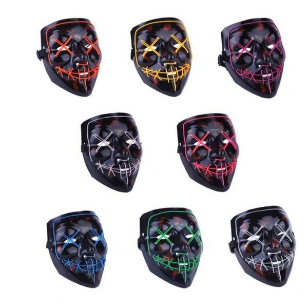 2020 nueva máscara de Halloween máscara LED casa embrujada máscara de terror fantasma shuffle dance máscaras de fiesta de luz fría máscara de calaveraT2I5037
